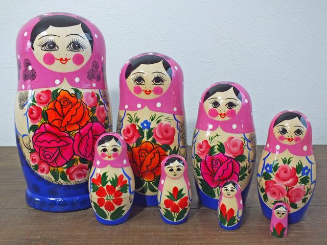 今ふうマトリョーシカ(ピンク)☆セミョーノフ☆8ピースマトリョーシカ【ロシア雑貨のカチューシャ】