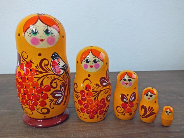 オレンジのななかまど☆セミョーノフ☆5ピースマトリョーシカ【ロシア雑貨のカチューシャ】