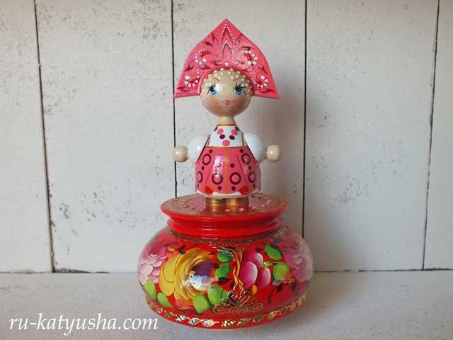 ロシア人形のオルゴール(ピンク)☆カチューシャ★ロシア雑貨