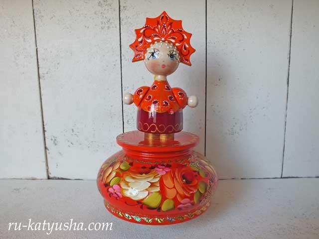 ロシア人形のオルゴール(オレンジ)☆モスクワ郊外の夕べ★ロシア雑貨