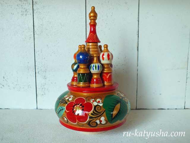 ロシア聖堂のオルゴール(ホフロマ金)☆カチューシャ★ロシア雑貨