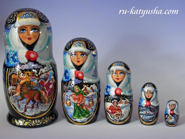 ロシアの冬景色☆Kuzmina★マトリョーシカ5ピース☆ロシア雑貨
