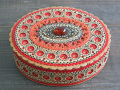 琥珀の白樺ラウンドボックス(赤・楕円)☆ベレスタ_ロシアの白樺細工
