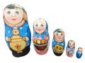 ロシア雑貨(ブルー)★コブロフstudio☆マトリョーシカ5P【ロシア雑貨のカチューシャ】