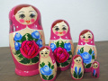 今ふうマトリョーシカ(ピンク)☆セミョーノフ☆6ピースマトリョーシカ【ロシア雑貨のカチューシャ】