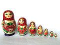 【訳あり】ノリンスク伝統柄マトリョーシカ赤8P