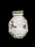 宝石シェルカメオブローチ商品番号0008