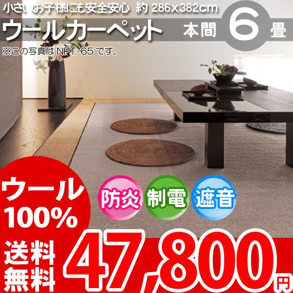 【送料無料】■AS 新毛 ウール100%ニューアスポーター 6畳 快適 カーペット♪ 本間6畳(286x382)全6色