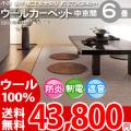 【送料無料】■AS 新毛 ウール100%ニューアスポーター 6畳 快適 カーペット♪ 中京間6畳(273x364)全6色