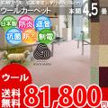 【送料無料】■AS カラバリ豊富8色♪新毛ウール 100% カーペット 本間4.5畳(286x286)アドニス●全8色