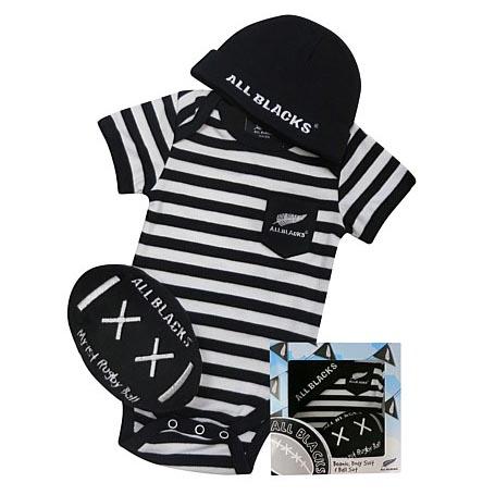 オールブラックス 赤ちゃん用 3Piece ギフトボックス ストライプ