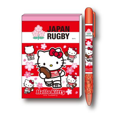 ラグビー日本代表 オフィシャル ハローキティ ボールペン&メモ帳セット