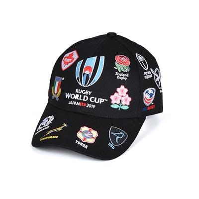 ラグビーワールドカップ2019(TM) 公式ライセンス 20 UNIONS キャップ ブラック