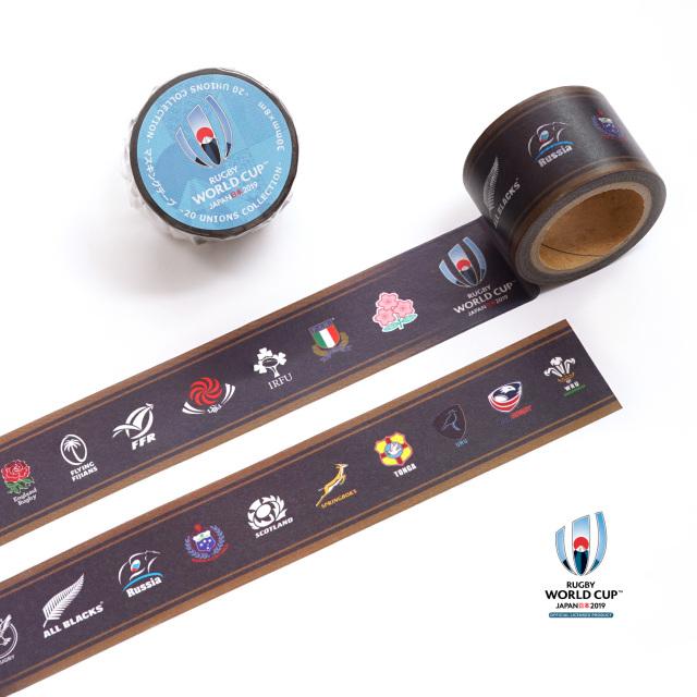 ラグビーワールドカップ2019(TM) 公式ライセンス マスキングテープ(30mm幅) 【20 UNIONS COLLECTION】