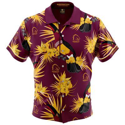 ブリスベン・ブロンコス 2019 NRL ハワイアンシャツ
