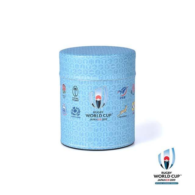 ラグビーワールドカップ2019(TM) 公式ライセンス 茶筒・珈琲缶 太 ブルー 亀甲