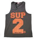 SUP2 シングレット Dry Fit ダークグレー×オレンジ