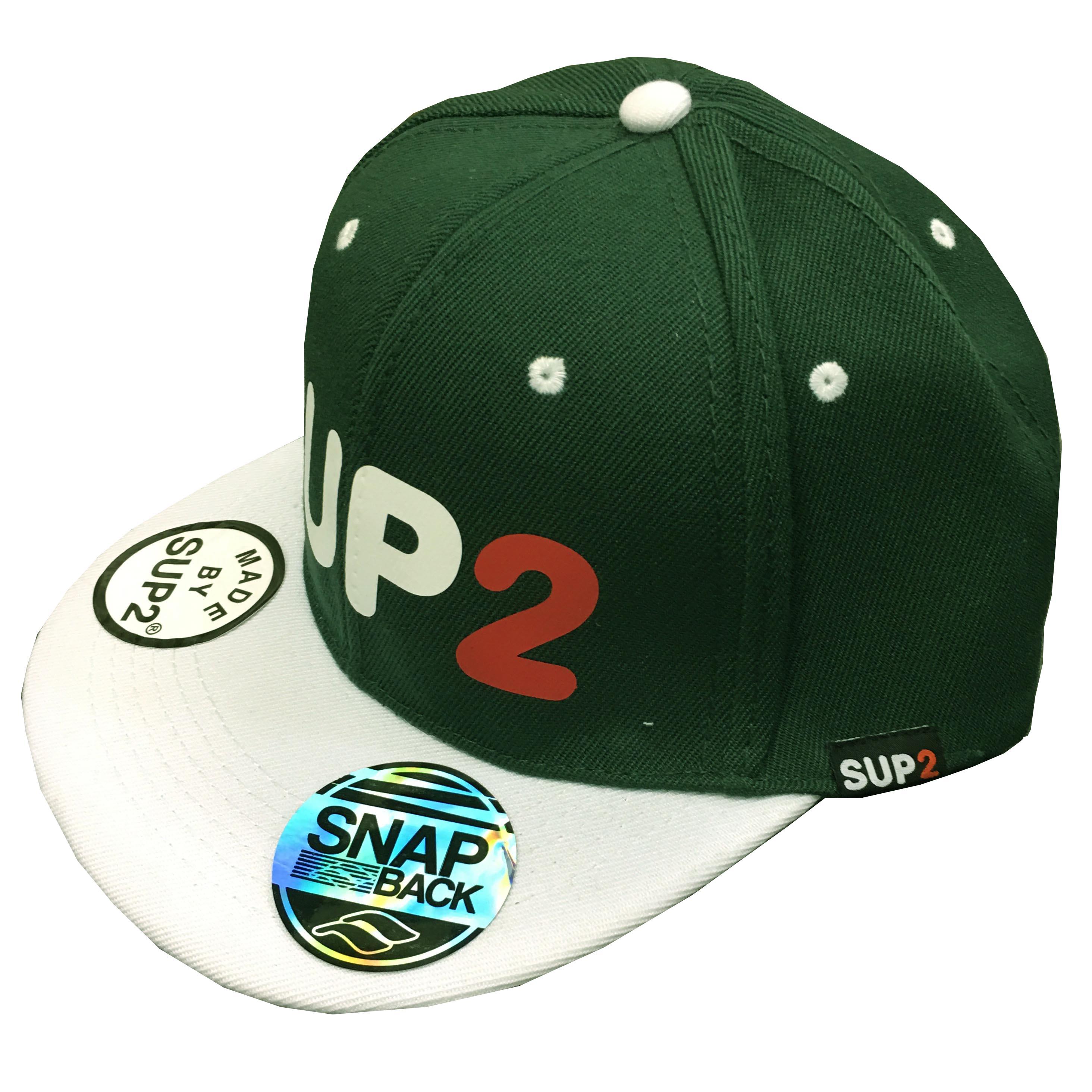 SUP2 フラットキャップ オリジナルロゴ グリーン×ホワイト