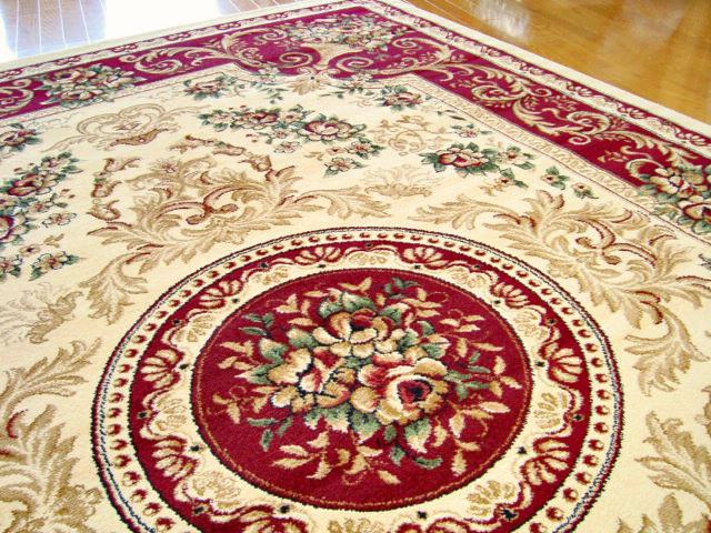 トルコ製ウィルトン織りラグマット スーパー・エルマス レッド 240x240cm 約4.5帖(カラー:赤)