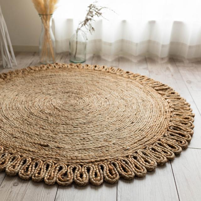 サヤンサヤン 手織り ジュート ラグ デイジー 直径 90 cm 円形 ベージュ  ナチュラル 床暖房 ホットカーペットカバー対応