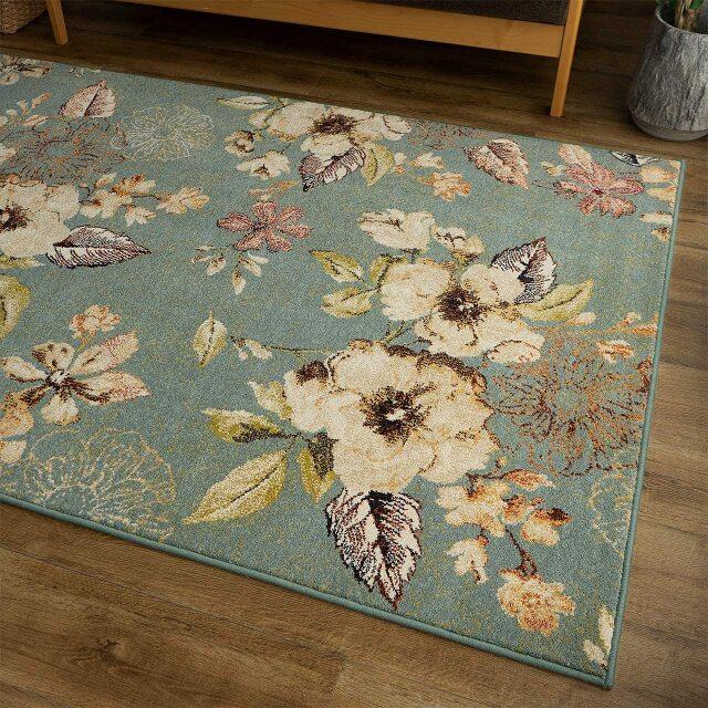 サヤンサヤン フラワー柄 花柄 ラグ マット フルール 約 80×150 cm 1畳 長方形 アイボリー ブルー 床暖房 ホットカーペットカバー対応 ウィルトン織 ベルギー製