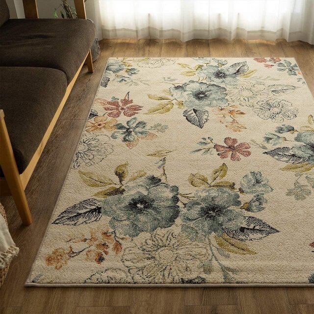 サヤンサヤン フラワー 花柄 ラグマット フルール 約 133×195 cm 1.5畳 長方形 アイボリー ブルー 床暖房 ホットカーペットカバー対応 ウィルトン織 ベルギー製