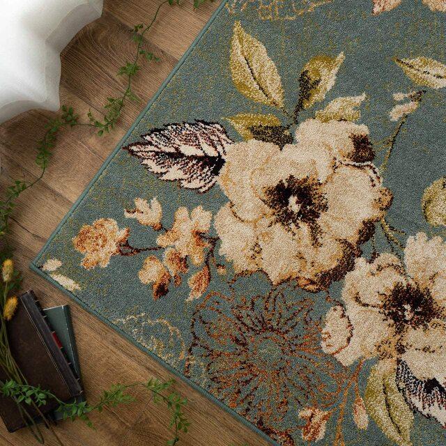 サヤンサヤン フラワー 花柄 ラグマット フルール 約 200×200 cm 2畳 正方形 アイボリー ブルー 床暖房 ホットカーペットカバー対応 ウィルトン織 ベルギー製