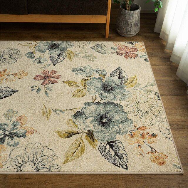 サヤンサヤン フラワー 花柄 ラグマット フルール 約 200×250 cm 3畳 正方形 アイボリー ブルー 床暖房 ホットカーペットカバー対応 ウィルトン織 ベルギー製