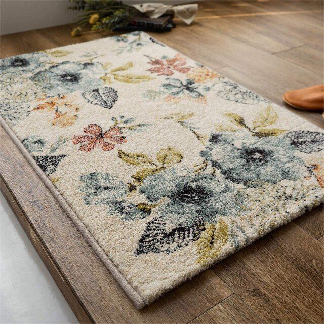 サヤンサヤン フラワー柄 花柄 玄関マット フルール 約 50×80 cm 室内 屋内 アイボリー ブルー 床暖房 ホットカーペットカバー対応 ウィルトン織 ベルギー製