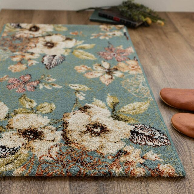 サヤンサヤン フラワー柄 花柄 玄関マット フルール 約 60×90 cm 室内 屋内 アイボリー ブルー 床暖房 ホットカーペットカバー対応 ウィルトン織 ベルギー製