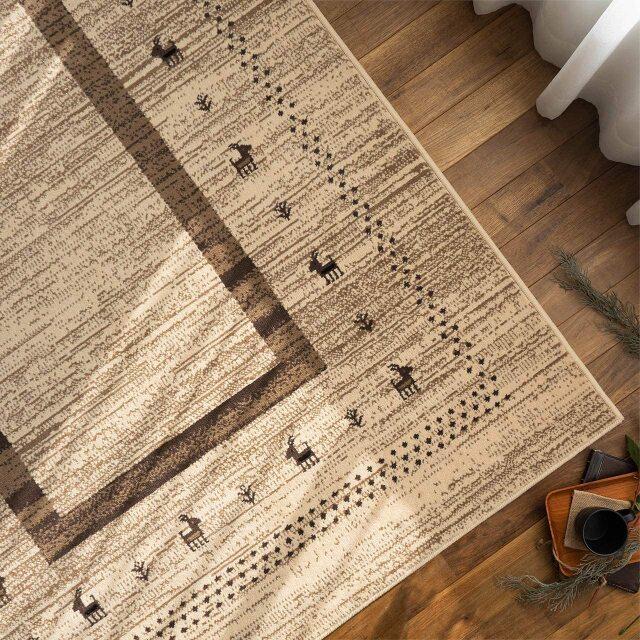 サヤンサヤン ギャベ風 ラグマット キッド 約 80×150cm 1畳 長方形 アイボリー 床暖房 ホットカーペットカバー対応 ウィルトン織 ベルギー製