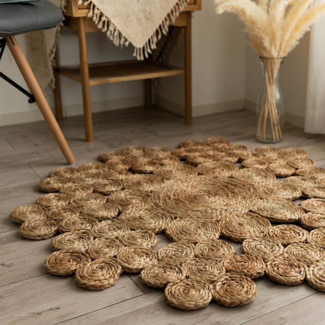サヤンサヤン 手織り ジュート ラグ リリー 直径 90 cm 円形 ベージュ  ナチュラル 床暖房 ホットカーペットカバー対応