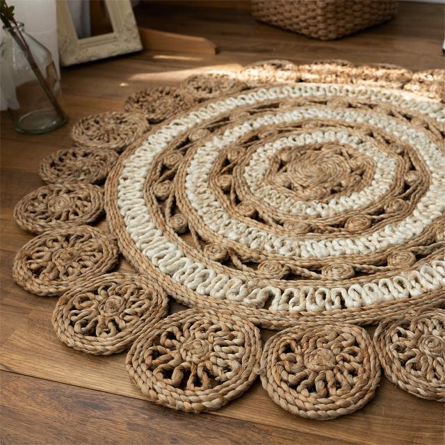 サヤンサヤン 手織り ジュート ラグ ロータス 直径 90 cm 円形 ベージュ  ナチュラル 床暖房 ホットカーペットカバー対応