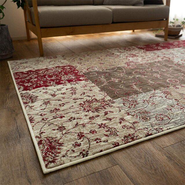 サヤンサヤン 花柄 ブロック ラグ マット 絨毯 カロ 約 140×200 cm 1.5畳 長方形 レッド ブルー 床暖房 ホットカーペットカバー対応 ウィルトン織 ベルギー製