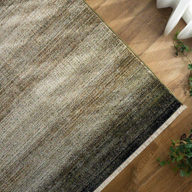 サヤンサヤン グラデーション ラグマット カトル 約 140×200 cm 1.5畳 長方形 グリーン ダークブラウン 床暖房 ホットカーペットカバー対応 ウィルトン織