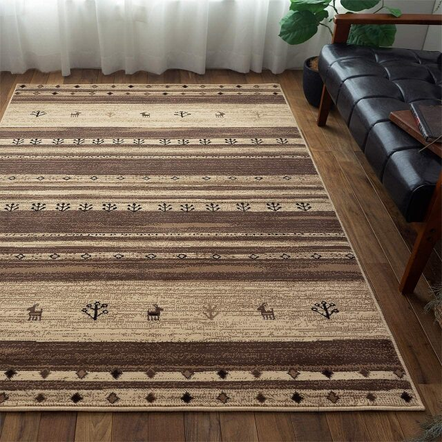 サヤンサヤン 北欧 ギャッベ風 ラグマット レッタ  約 140×200cm 1.5畳 長方形 アイボリー 床暖房 ホットカーペットカバー対応 ウィルトン織 ベルギー製