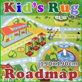 子供部屋 ラグ 丸洗いOK「ロードマップ」 190x190cm トミカ・プラレール好きに