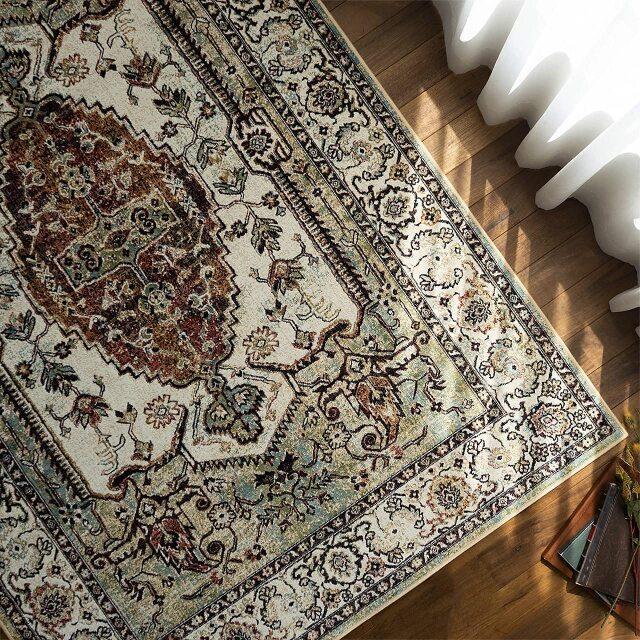 サヤンサヤン ペルシャ柄 ラグ カーペット 絨毯 ロイヤルパレス14041 約 195×195cm 2畳 正方形 ベージュ  グリーン 床暖房 ホットカーペットカバー対応 モケット織