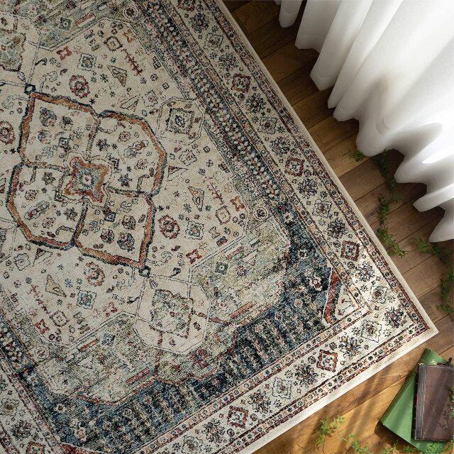 サヤンサヤン ペルシャ柄 ラグ カーペット 絨毯 ロイヤルパレス14155 約 195×195cm 2畳 正方形 ベージュ  グリーン 床暖房 ホットカーペットカバー対応 モケット織