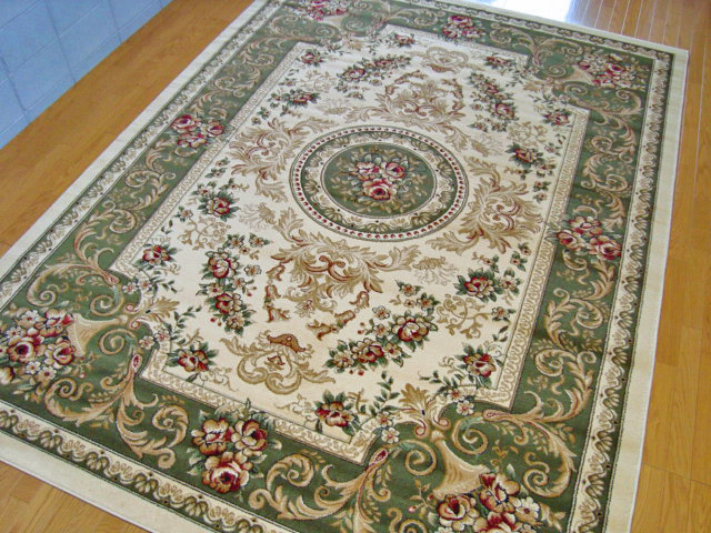 トルコ製ウィルトン織りラグマット スーパー・エルマス グリーン 240x330cm 約6帖(カラー:緑)