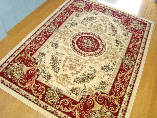 トルコ製ウィルトン織りラグマット スーパー・エルマス レッド 240x330cm 約6帖(カラー:赤)