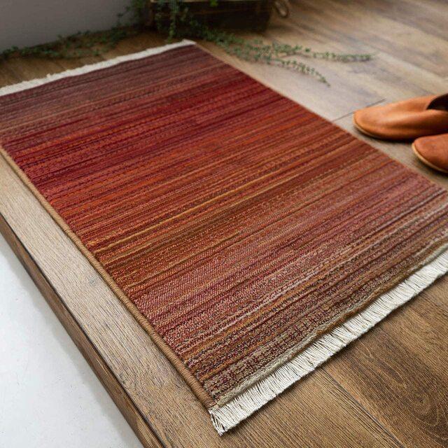 サヤンサヤン 北欧風 グラデーション 玄関マット 室内 屋内 フィーア 約 50×80 cm 室内 屋内 ブルー レッド 床暖房 ホットカーペットカバー対応 ウィルトン織