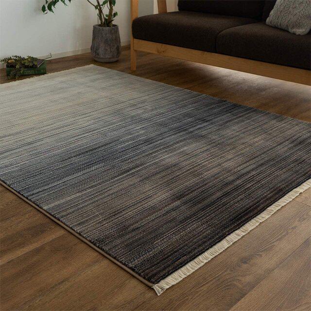 サヤンサヤン グラデーション ラグマット フィーア 約 140×200 cm 1.5畳 長方形 ブルー レッド 床暖房 ホットカーペットカバー対応 ウィルトン織