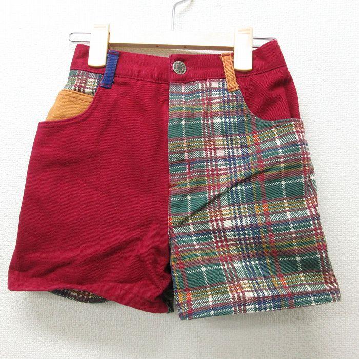 古着 ショート パンツ キッズ ガールズ 子供服 90年代 90s クレイジーパターン 赤他 レッド デニム 【spe】 21jul20