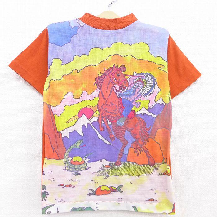古着 半袖 ビンテージ Tシャツ キッズ ボーイズ 子供服 70年代 70s 馬 インディアン ヘビ クルーネック USA製 オレンジ他 【spe】 21jul20