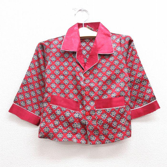 古着 長袖 パジャマ シャツ キッズ ボーイズ 子供服 80年代 80s 総柄 シルク 開襟 オープンカラー 赤 レッド 【spe】 21sep13
