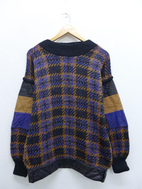 古着 レディース 長袖 セーター 80年代 レザー使用 イタリア製 黒他 ブラック 【spe】 19oct07 中古 ニット トップス