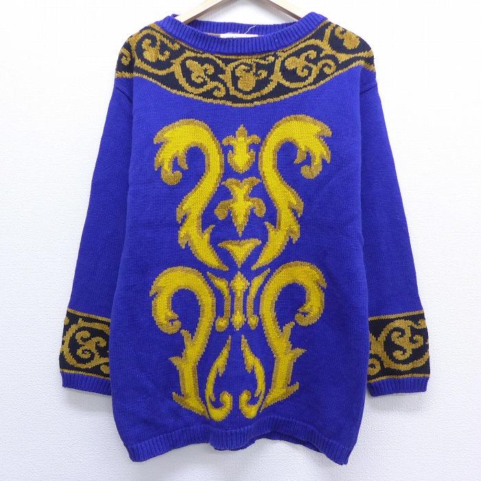 古着 レディース 長袖 セーター クルーネック 紫 パープル 【spe】 20feb07 中古 ニット トップス