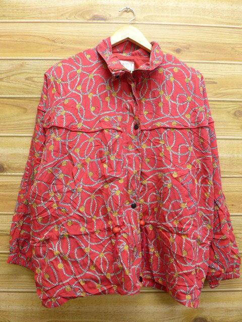 古着 レディース ジャケット イカリ シルク 大きいサイズ 赤 レッド 【spe】 18jan25 中古 アウター ジャンパー ブルゾン WS