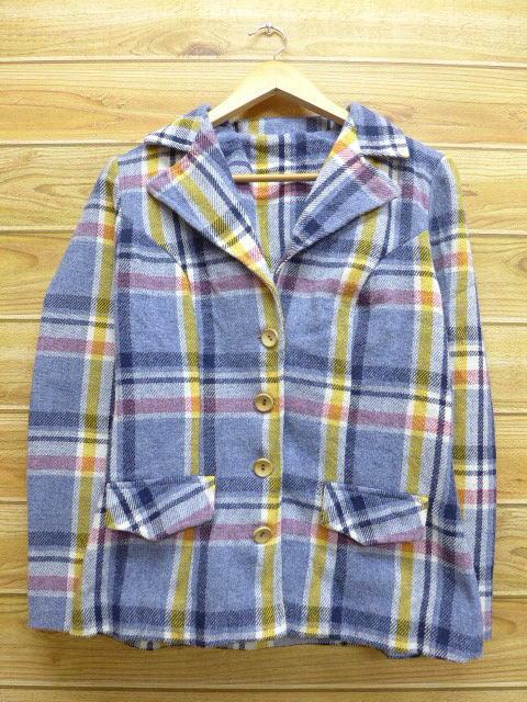 古着 レディース ジャケット 70年代 薄紺 ネイビー チェック 18jan25 中古 アウター ジャンパー ブルゾン